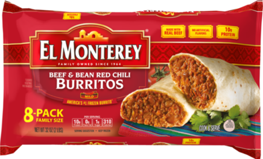 Beef & Bean, Red Chili Burritos - Family Pack